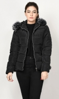 Puffer jacket with lining Long sleeves Hood with detachable faux fur finishing Side pockets Front zip closure Color: Army Green