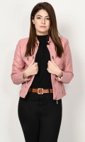 Leather jacket with lining Front zip closure Long sleeves with zipped detailing Color: Tea Pink