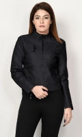 Leather jacket with lining Front zip closure Long sleeves with zipped detailing Color: Black
