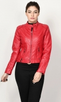 Leather jacket with lining Front zip closure Long sleeves Color: Red