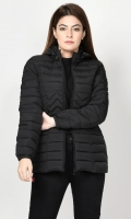 Puffer jacket with lining Long sleeves with elasticized cuffs Hood with draw strings Front pockets Front zip closure Color: Black