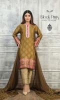 Silk screen print kurta with Gota patti Embellished neckline. Chiffon Gold Lace Embellished Dupatta. Straight Raw silk pants with gold detailings.