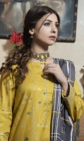 Dupatta: Gold Printed Lawn - 01 Piece Shirt Front: Gold  Printed Lawn - 01 Piece Shirt Back: Gold  Printed Lawn - 01 Piece Sleeves: Gold  Printed Lawn - 01 Pair Trouser: Dyed - 01 Piece