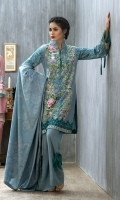 Shirt: Front: Embroidered/Dyed1.25 Meters Shirt: Back: Embroidered/Dyed1.25 Meters Dupatta: Printed2.5 Meters Sleeves: Embroidered/Dyed1 Pair Trouser: Dyed 2.5 Meters Weight: 1.3 kg