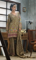 Shirt: Front: Embroidered/Dyed1.25 Meters Shirt: Back: Dyed1.25 Meters Dupatta: Printed2.5 Meters Sleeves: Embroidered/Dyed 1 Pair Trouser: Embroidered/Dyed 2.5 Meters Weight: 1.3kg