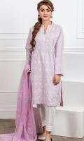 Chikankari embroidered straight kurta , thin band collar , straight sleeves.