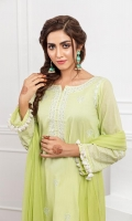 Chikankari embroidered kurta with inner pockets, straight sleeves , emellished with lace and tassals.
