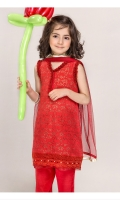 Red Lace Girl Kameez Pant and Dupata