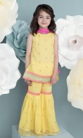 Yellow Chiffon Girl Kameez, Gharara and Dupata