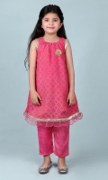 Pink Jacquard Girl Kameez and Pant