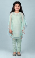 Green Glitter Net Girl Kaftan and Pants