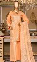 Embroidered front. Embroidered lace. Dyed lawn back and sleeves. Embroidered chiffon dupatta. Dyed cotton trouser.