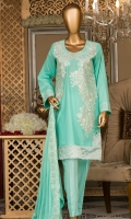 Embroidered front. Embroidered lace, dyed lawn back and sleeves. Embroidered chiffon dupatta. Dyed cotton trouser.