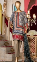Lawn Printed Shirt 3m. Embroidered Border. Brochier Printed Dupatta 2.5m. Dyed Trouser 2.5m.