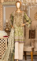Lawn Printed Embroidered Shirt 3m. Brochier Printed Dupatta 2.5m. Dyed Trouser 2.5m.