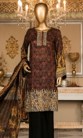Lawn Printed Embroidered Shirt 3m. Embroidered Lace. Silk Printed Dupatta 2.5m. Dyed Trouser 2.5m.