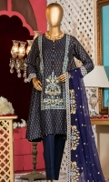 Embroidered front panel. Embroidered lace. Screen printed lawn back side panels and sleeves. Embroidered chiffon dupatta. Dyed cotton trouser