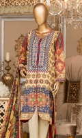 Lawn Printed Shirt 3m. Embroidered Neck. Embroidered Lace. Chiffon Printed Dupatta 2.5m.