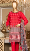 Lawn Embroidered Shirt 3m. Embroidered Lace. Chiffon Printed Dupatta 2.5m.
