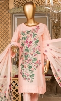 Embroidered shirt front. Embroidered sleeves. Dyed lawn back. Embroidered chiffon dupatta. Dyed cotton trouser.