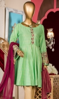 Screen printed shirt. Embroidered sleeves border. Embroidered placket. Screen printed chiffon dupatta.