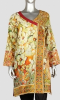 Vibrant printed angrakha style camise V-shape neck with the beauty of dori tessels Full sleeves Smart length