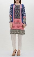 Printed silk shirt Embroidered neck finished with tassels and crystals Printed back and full sleeves