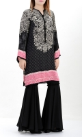 Printed silk shirt Embellished placket with tassels Printed back and sleeves