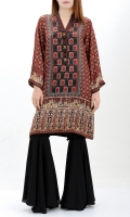 Printed silk shirt Embellished placket with crystals, pearls and dapka Printed back and sleeves