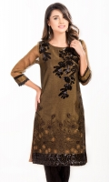 Zari net shirt with embroidered front Sequence on neck, shoulder and ghaira Pleats & croatia lace on cuffs