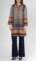 Printed multi coloured shirt Ban neck with stoned on embroidered placket  Full sleeves
