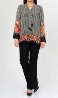 Printed shirt with tie at neck Full sleeves Fabric: Chiffon Lining: Cotton silk
