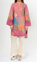 • Printed shirt with V-neck • Embroidery at neckline • Placket finished with pearl buttons  • Full sleeves