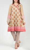 A-line printed shirt Embroidered neck  Embellished bell sleeves finished with transparent sequins