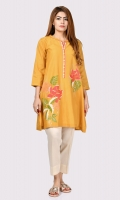 Shirt with embroidered front Ban neck and embroidered placket
