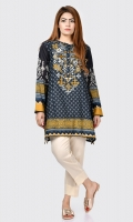 Printed shirt with embroidered neck Buttons on placket Full sleeves