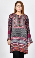 Printed shirt with tassels and stones on placket Full sleeves with embroidered cuffs
