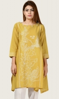 Shirt with embroidered front Neckline finished with tassels and stones Sleeves with embroidered cuffs