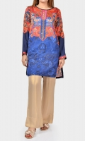 Printed shirt with embroidered placket Full sleeves