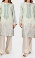 Placket embellished with pearls, stones and sequins Full sleeves with pearls on cuffs