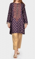 Shirt with embroidered neckline Placket embellished with stones Full sleeves with fringe on cuffs