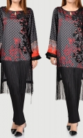 Printed shirt with embellished front (sequins) Long fringe on bottom (daaman) Full sleeves