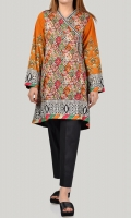 Printed shirt with embroidered neckline Drawstring with stones on waist Full sleeves