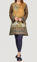 Printed shirt with embellished neckline 3-D flowers finished with pearls, crystals and stones Full sleeves