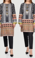 Printed shirt with metallic buttons, crystals and tassels on placket Full sleeves