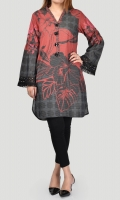 Printed shirt with embellished placket (sequins & stones) Full sleeves with gathers and fringe