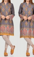 Printed shirt with embroidered sleeves Tassels and metallic buttons on placket