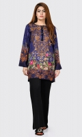 Printed shirt with embroidered neckline (with sequins) Placket embellished with stones and sequins Full sleeves
