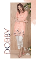 Dobby embroidered kurta along with band collar neckline and straight sleeves.