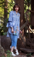 DIGITAL PRINTED SHIRT WITH EMBROIDERY SHIRT COLLOR NECK STYLIZED SLEEVES STRAIGHT HEIM EMBELLISHED WITH PEARLS